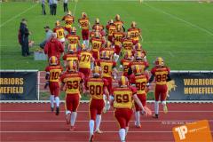 Beim US-Sports spiel der American Football - U16 zwischen dem Winterthur Warriors U16 und dem Calanda Broncos U16, on Saturday,  29. September 2018 im Sportanlage Deutweg in Winterthur . (TOPpictures/Michael Walch)  Bild-Id: WAM_46064