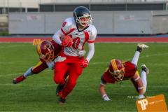 Beim US-Sports spiel der American Football - U16 zwischen dem Winterthur Warriors U16 und dem Calanda Broncos U16, on Saturday,  29. September 2018 im Sportanlage Deutweg in Winterthur . (TOPpictures/Michael Walch)  Bild-Id: WAM_46079