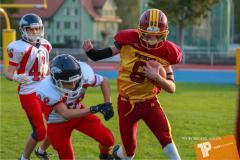 Beim US-Sports spiel der American Football - U16 zwischen dem Winterthur Warriors U16 und dem Calanda Broncos U16, on Saturday,  29. September 2018 im Sportanlage Deutweg in Winterthur . (TOPpictures/Michael Walch)  Bild-Id: WAM_46098