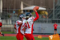 Beim US-Sports spiel der American Football - U16 zwischen dem Winterthur Warriors U16 und dem Calanda Broncos U16, on Saturday,  29. September 2018 im Sportanlage Deutweg in Winterthur . (TOPpictures/Michael Walch)  Bild-Id: WAM_46116