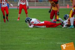 Beim US-Sports spiel der American Football - U16 zwischen dem Winterthur Warriors U16 und dem Calanda Broncos U16, on Saturday,  29. September 2018 im Sportanlage Deutweg in Winterthur . (TOPpictures/Michael Walch)  Bild-Id: WAM_46129