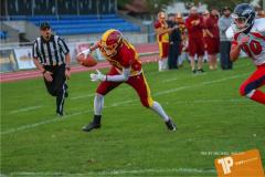 Beim US-Sports spiel der American Football - U16 zwischen dem Winterthur Warriors U16 und dem Calanda Broncos U16, on Saturday,  29. September 2018 im Sportanlage Deutweg in Winterthur . (TOPpictures/Michael Walch)  Bild-Id: WAM_46147