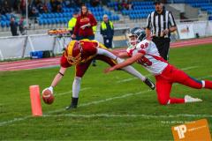 Beim US-Sports spiel der American Football - U16 zwischen dem Winterthur Warriors U16 und dem Calanda Broncos U16, on Saturday,  29. September 2018 im Sportanlage Deutweg in Winterthur . (TOPpictures/Michael Walch)  Bild-Id: WAM_46148