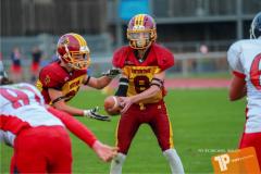 Beim US-Sports spiel der American Football - U16 zwischen dem Winterthur Warriors U16 und dem Calanda Broncos U16, on Saturday,  29. September 2018 im Sportanlage Deutweg in Winterthur . (TOPpictures/Michael Walch)  Bild-Id: WAM_46150