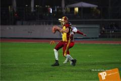 Beim US-Sports spiel der American Football - U16 zwischen dem Winterthur Warriors U16 und dem Calanda Broncos U16, on Saturday,  29. September 2018 im Sportanlage Deutweg in Winterthur . (TOPpictures/Michael Walch)  Bild-Id: WAM_46200