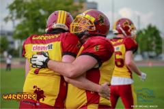 18.05.2019, American Football, Herren, 2018/2019, NLA, Winterthur Warriors vs Calanda Broncos ,Freunde über den Punckt bei den Winterthur Warriors