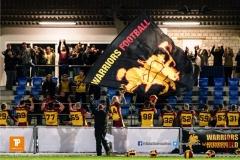 Die Warriors feiern den Sieg, beim American Football NLA Spiel zwischen den Winterthur Warriors und den Gladiators beider Basel, am Samstag, den 31. Maerz 2018 im Stadion Deutweg in Winterthur. (Foto: BEAUTIFUL SPORTS / Gerd Gruendl)Bild-Id: GRG_180331-1692