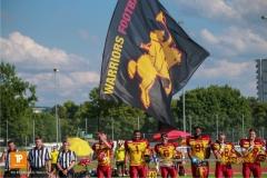 Dei Warriors Fahne ,beim US-Sports spiel der American Football NLA zwischen dem Winterthur Warriors und dem Bern Grizzlies, on Saturday,  02. June 2018 auf dem Sportplatz Deutweg in Winterthur. (TOPpictures/Michael Walch)  Bild-Id: WAM_42991