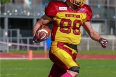 Jonas Pflueger #88 (Winterthur),beim US-Sports spiel der American Football NLA zwischen dem Winterthur Warriors und dem Bern Grizzlies, on Saturday,  02. June 2018 auf dem Sportplatz Deutweg in Winterthur. (TOPpictures/Michael Walch)  Bild-Id: WAM_43003