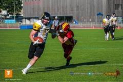 Beim US-Sports spiel der American Football NLA zwischen dem Winterthur Warriors und dem Bern Grizzlies, on Saturday,  02. June 2018 auf dem Sportplatz Deutweg in Winterthur. (TOPpictures/Michael Walch)  Bild-Id: WAM_43123