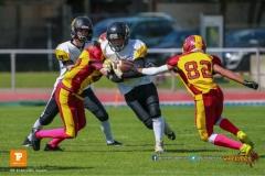 Nathan Girsberger #82 (Winterthur),beim US-Sports spiel der American Football U19 zwischen dem Winterthur Warriors  U19 und dem Bern Grizzlies, on Saturday,  02. June 2018 auf dem Sportplatz Deutweg in Winterthur. (TOPpictures/Michael Walch)  Bild-Id: WAM_42879
