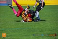 Beim US-Sports spiel der American Football U19 zwischen dem Winterthur Warriors  U19 und dem Bern Grizzlies, on Saturday,  02. June 2018 auf dem Sportplatz Deutweg in Winterthur. (TOPpictures/Michael Walch)  Bild-Id: WAM_42935