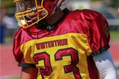 Kodi Koechli #23 (Winterthur),beim US-Sports spiel der American Football U19 zwischen dem Winterthur Warriors  U19 und dem Bern Grizzlies, on Saturday,  02. June 2018 auf dem Sportplatz Deutweg in Winterthur. (TOPpictures/Michael Walch)  Bild-Id: WAM_42937