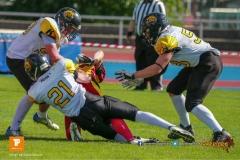 Beim US-Sports spiel der American Football U19 zwischen dem Winterthur Warriors  U19 und dem Bern Grizzlies, on Saturday,  02. June 2018 auf dem Sportplatz Deutweg in Winterthur. (TOPpictures/Michael Walch)  Bild-Id: WAM_42958