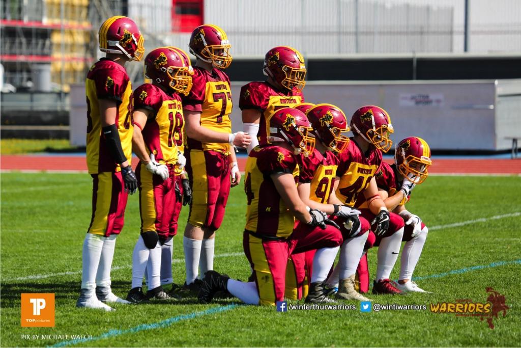 Beim US-Sports spiel der American Football - U 19zwischen dem Winterthur Warriors und dem Luzern Lions  U19, on Saturday,  21. April 2018 auf dem  Winterthurer Deutweg in Winterthur. (TOPpictures/Michael Walch)Bild-Id: WAM_36991