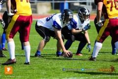 Beim US-Sports spiel der American Football - NLA zwischen dem Winterthur Warriors und dem Luzern Lions  U19, on Saturday,  21. April 2018 auf dem  Winterthurer Deutweg in Winterthur. (TOPpictures/Michael Walch)Bild-Id: WAM_36933