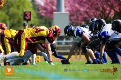 Beim US-Sports spiel der American Football - U19 zwischen dem Winterthur Warriors und dem Luzern Lions  U19, on Saturday,  21. April 2018 auf dem  Winterthurer Deutweg in Winterthur. (TOPpictures/Michael Walch)Bild-Id: WAM_37017