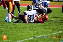 Beim US-Sports spiel der American Football - U19 zwischen dem Winterthur Warriors und dem Luzern Lions  U19, on Saturday,  21. April 2018 auf dem  Winterthurer Deutweg in Winterthur. (TOPpictures/Michael Walch)Bild-Id: WAM_37037
