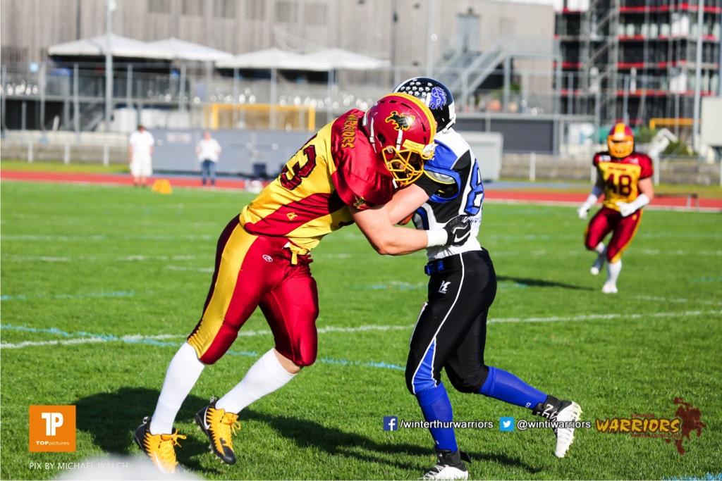 Beim US-Sports spiel der American Football - NLA zwischen dem Winterthur Warriors und dem Luzern Lions, on Saturday,  21. April 2018 auf dem  Winterthurer Deutweg in Winterthur. (TOPpictures/Michael Walch)Bild-Id: WAM_37071
