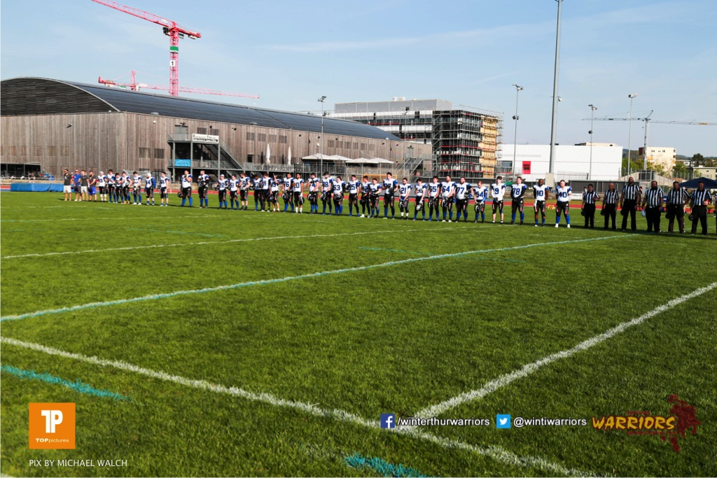 Beim US-Sports spiel der American Football - NLA zwischen dem Winterthur Warriors und dem Luzern Lions, on Saturday,  21. April 2018 auf dem  Winterthurer Deutweg in Winterthur. (TOPpictures/Michael Walch)Bild-Id: WAM_37171
