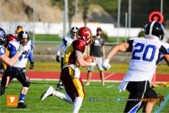 Beim US-Sports spiel der American Football - NLA zwischen dem Winterthur Warriors und dem Luzern Lions, on Saturday,  21. April 2018 auf dem  Winterthurer Deutweg in Winterthur. (TOPpictures/Michael Walch)Bild-Id: WAM_37057