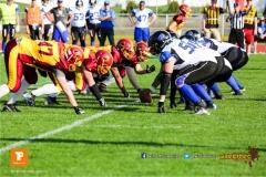 ,Beim US-Sports spiel der American Football - NLA zwischen dem Winterthur Warriors und dem Luzern Lions, on Saturday,  21. April 2018 auf dem  Winterthurer Deutweg in Winterthur. (TOPpictures/Michael Walch)Bild-Id: WAM_37070