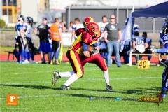 Beim US-Sports spiel der American Football - NLA zwischen dem Winterthur Warriors und dem Luzern Lions, on Saturday,  21. April 2018 auf dem  Winterthurer Deutweg in Winterthur. (TOPpictures/Michael Walch)Bild-Id: WAM_37088