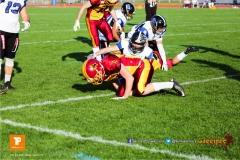 Beim US-Sports spiel der American Football - NLA zwischen dem Winterthur Warriors und dem Luzern Lions, on Saturday,  21. April 2018 auf dem  Winterthurer Deutweg in Winterthur. (TOPpictures/Michael Walch)Bild-Id: WAM_37089