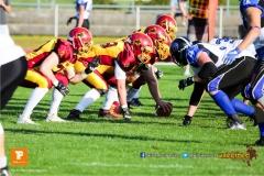 Beim US-Sports spiel der American Football - NLA zwischen dem Winterthur Warriors und dem Luzern Lions, on Saturday,  21. April 2018 auf dem  Winterthurer Deutweg in Winterthur. (TOPpictures/Michael Walch)Bild-Id: WAM_37091