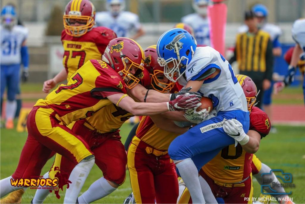 Beim US-Sports spiel der American Football -U19 zwischen dem Winterthur Warriors und dem Zurich Renegades, on Saturday,  06. April 2019 im Deutweg  in Winterthur. (Just Pictures/Michael Walch) Bild-Id: WAM_56051
