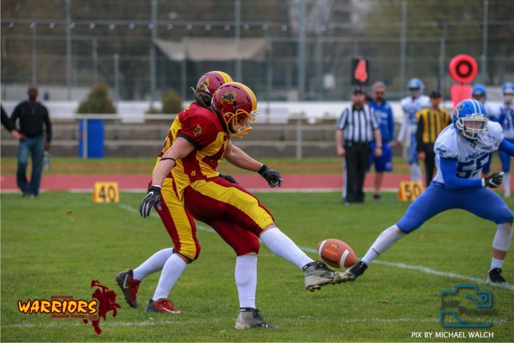 Beim US-Sports spiel der American Football -U19 zwischen dem Winterthur Warriors und dem Zurich Renegades, on Saturday,  06. April 2019 im Deutweg  in Winterthur. (Just Pictures/Michael Walch)Bild-Id: WAM_56060