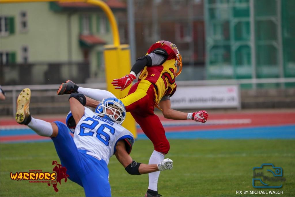 Beim US-Sports spiel der American Football -U19 zwischen dem Winterthur Warriors und dem Zurich Renegades, on Saturday,  06. April 2019 im Deutweg  in Winterthur. (Just Pictures/Michael Walch)Bild-Id: WAM_56079