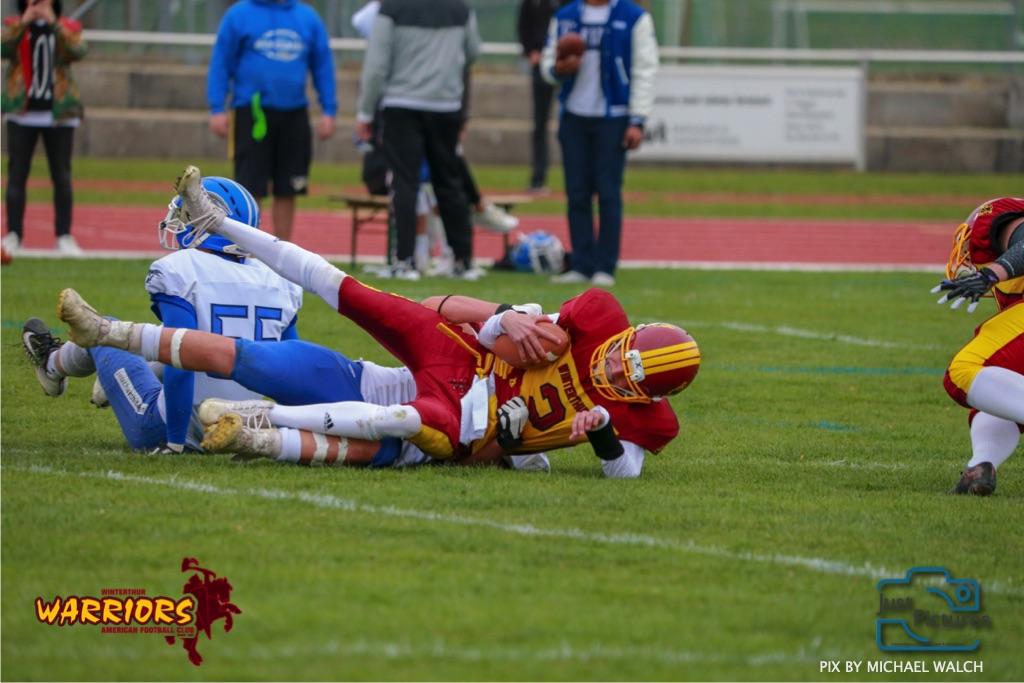 Beim US-Sports spiel der American Football -U19 zwischen dem Winterthur Warriors und dem Zurich Renegades, on Saturday,  06. April 2019 im Deutweg  in Winterthur. (Just Pictures/Michael Walch)Bild-Id: WAM_56082