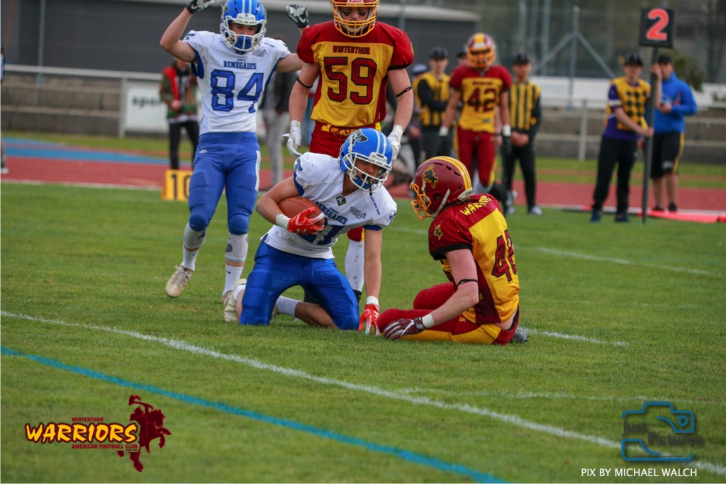 Beim US-Sports spiel der American Football -U19 zwischen dem Winterthur Warriors und dem Zurich Renegades, on Saturday,  06. April 2019 im Deutweg  in Winterthur. (Just Pictures/Michael Walch)Bild-Id: WAM_56121
