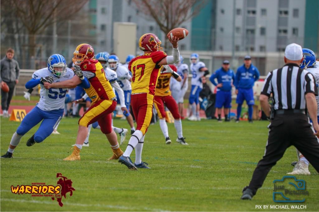 Beim US-Sports spiel der American Football -U19 zwischen dem Winterthur Warriors und dem Zurich Renegades, on Saturday,  06. April 2019 im Deutweg  in Winterthur. (Just Pictures/Michael Walch)Bild-Id: WAM_56130