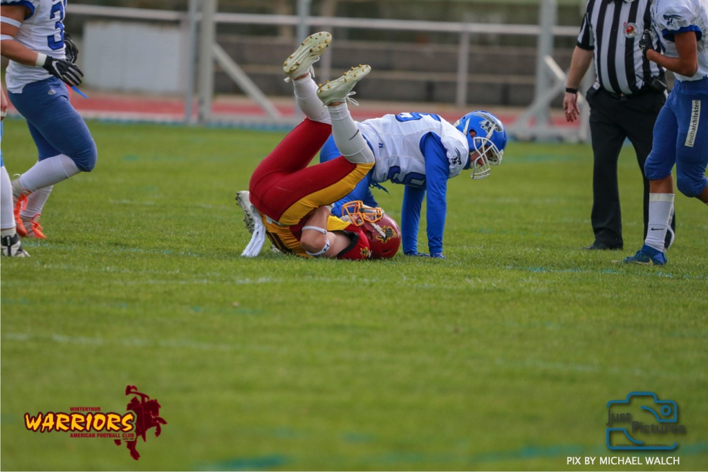 Beim US-Sports spiel der American Football -U19 zwischen dem Winterthur Warriors und dem Zurich Renegades, on Saturday,  06. April 2019 im Deutweg  in Winterthur. (Just Pictures/Michael Walch)Bild-Id: WAM_56135