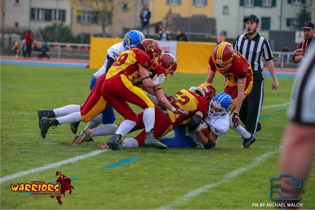 Beim US-Sports spiel der American Football -U19 zwischen dem Winterthur Warriors und dem Zurich Renegades, on Saturday,  06. April 2019 im Deutweg  in Winterthur. (Just Pictures/Michael Walch)Bild-Id: WAM_56138