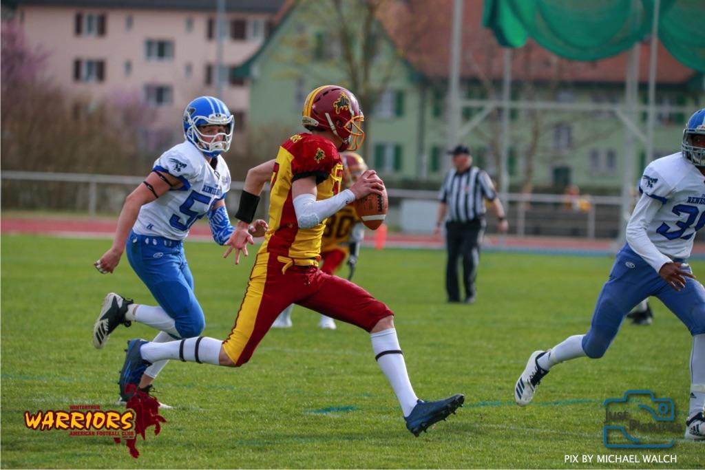 Beim US-Sports spiel der American Football -U19 zwischen dem Winterthur Warriors und dem Zurich Renegades, on Saturday,  06. April 2019 im Deutweg  in Winterthur. (Just Pictures/Michael Walch)Bild-Id: WAM_56145