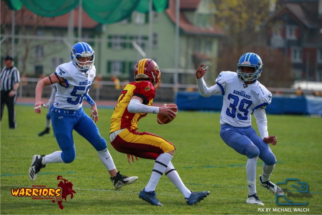 Beim US-Sports spiel der American Football -U19 zwischen dem Winterthur Warriors und dem Zurich Renegades, on Saturday,  06. April 2019 im Deutweg  in Winterthur. (Just Pictures/Michael Walch)Bild-Id: WAM_56146