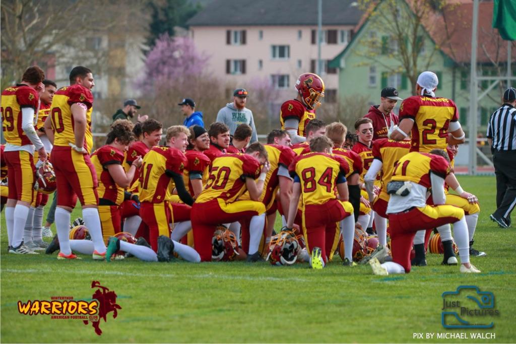 Beim US-Sports spiel der American Football -U19 zwischen dem Winterthur Warriors und dem Zurich Renegades, on Saturday,  06. April 2019 im Deutweg  in Winterthur. (Just Pictures/Michael Walch)Bild-Id: WAM_56159
