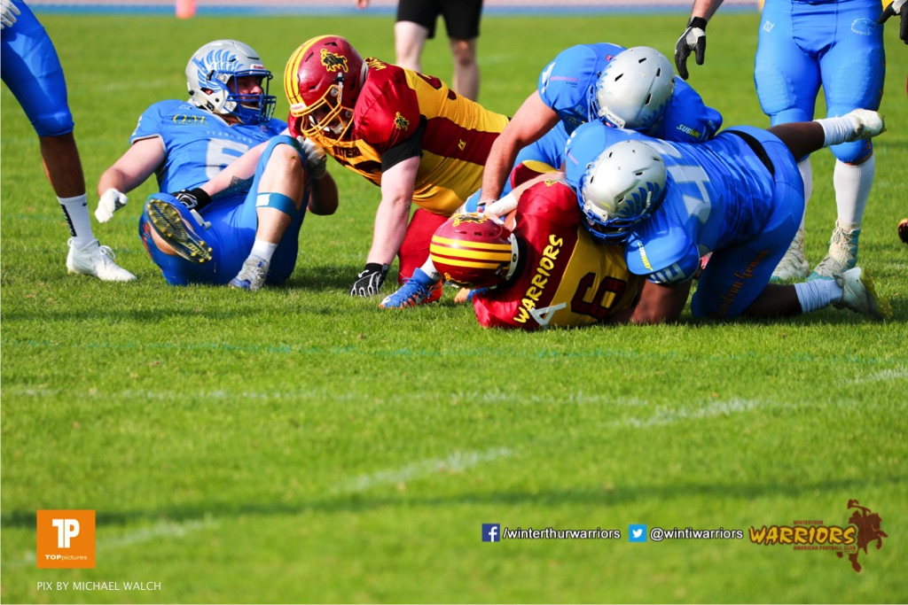 Beim US-Sports spiel der American Football  zwischen den Winterthur Warriors und den Geneva Seahawks, on Saturday,  12. May 2018 im Sportpark Deutweg in Winterthur . (TOPpictures/Michael Walch) Bild-Id: WAM_40020