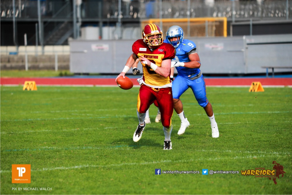 Beim US-Sports spiel der American Football  zwischen den Winterthur Warriors und den Geneva Seahawks, on Saturday,  12. May 2018 im Sportpark Deutweg in Winterthur . (TOPpictures/Michael Walch) Bild-Id: WAM_40027