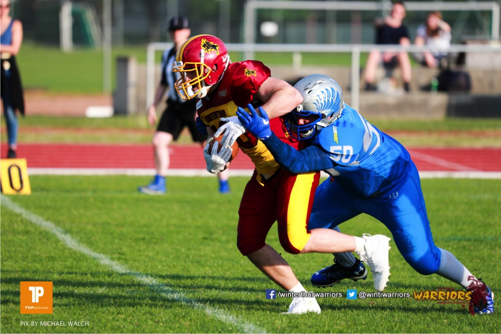 Beim US-Sports spiel der American Football  zwischen den Winterthur Warriors und den Geneva Seahawks, on Saturday,  12. May 2018 im Sportpark Deutweg in Winterthur . (TOPpictures/Michael Walch) Bild-Id: WAM_40043