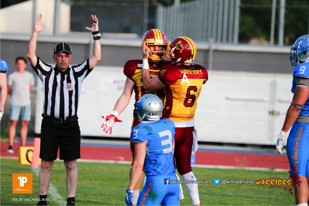 Beim US-Sports spiel der American Football  zwischen den Winterthur Warriors und den Geneva Seahawks, on Saturday,  12. May 2018 im Sportpark Deutweg in Winterthur . (TOPpictures/Michael Walch) Bild-Id: WAM_40068