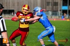 Patrik Weber #29 (Winterthur),beim US-Sports spiel der American Football  zwischen den Winterthur Warriors und den Geneva Seahawks, on Saturday,  12. May 2018 im Sportpark Deutweg in Winterthur . (TOPpictures/Michael Walch)  Bild-Id: WAM_40028