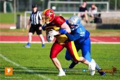 Beim US-Sports spiel der American Football  zwischen den Winterthur Warriors und den Geneva Seahawks, on Saturday,  12. May 2018 im Sportpark Deutweg in Winterthur . (TOPpictures/Michael Walch)  Bild-Id: WAM_40042