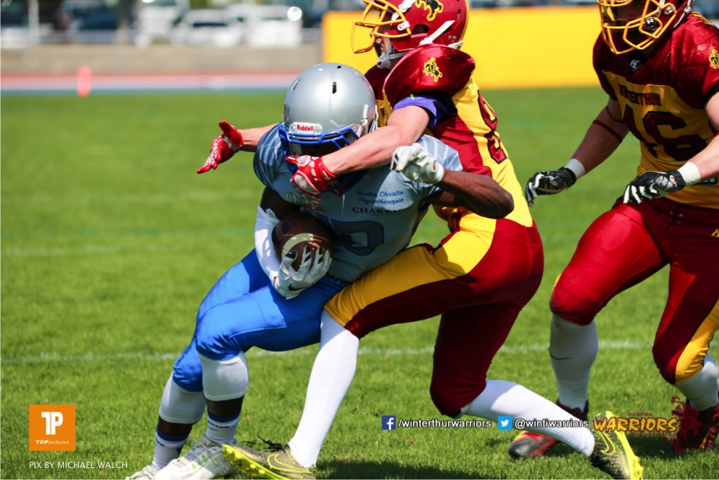 Beim US-Sports spiel der American Football  zwischen den Winterthur Warriors und den Geneva Seahawks U19, on Saturday,  12. May 2018 im Sportpark Deutweg in Winterthur . (TOPpictures/Michael Walch) Bild-Id: WAM_39868