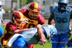 Beim US-Sports spiel der American Football  zwischen den Winterthur Warriors und den Geneva Seahawks U19, on Saturday,  12. May 2018 im Sportpark Deutweg in Winterthur . (TOPpictures/Michael Walch)  Bild-Id: WAM_39842