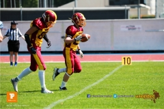 Beim US-Sports spiel der American Football  zwischen den Winterthur Warriors und den Geneva Seahawks U19, on Saturday,  12. May 2018 im Sportpark Deutweg in Winterthur . (TOPpictures/Michael Walch)  Bild-Id: WAM_39853