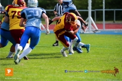 Beim US-Sports spiel der American Football  zwischen den Winterthur Warriors und den Geneva Seahawks U19, on Saturday,  12. May 2018 im Sportpark Deutweg in Winterthur . (TOPpictures/Michael Walch)  Bild-Id: WAM_39928